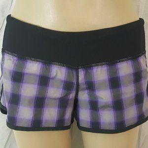 Lululemon Run Speed Shorts Lolo Purple Plaid Sz 4